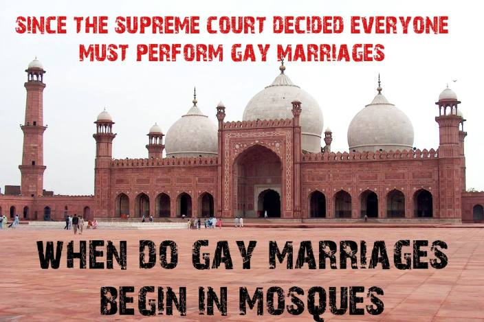 Gay marriages and mosques