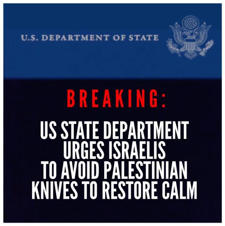 US state department israel avoid palestinian knives