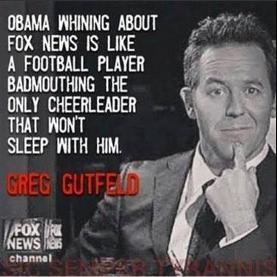 Obama Fox news and the cheerleader Gutfeld