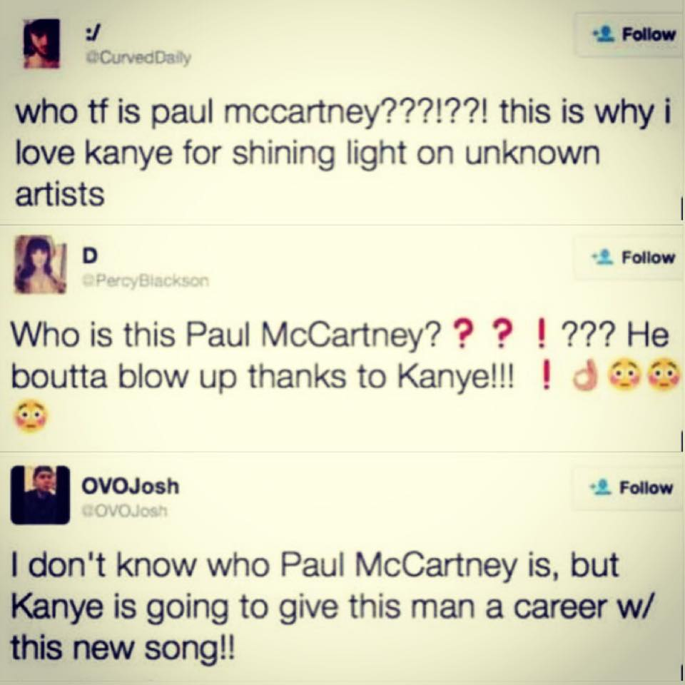 Kanye fans proud he's promoting unknown McCartney