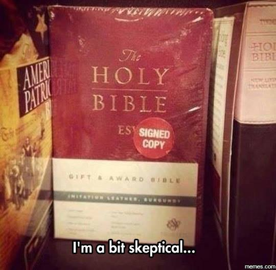 Signed copy of Holy Bible