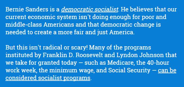 Bernie is a democratic socialist