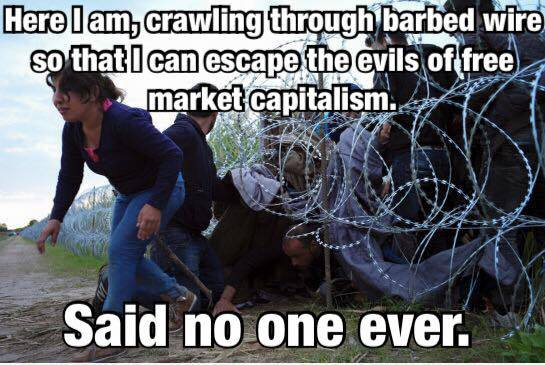 Crawling through barbed wire to escape capitalism