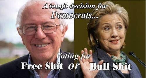 Bernie Hillary free shit bullshit