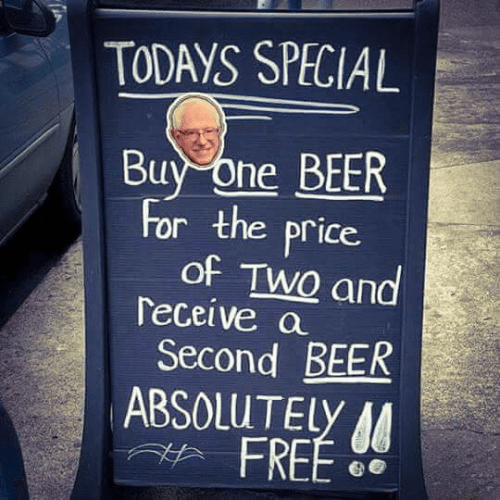 Bernie socialist beer prices