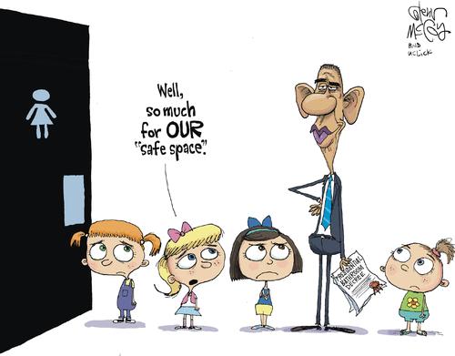Description:                                                          Obama bathroom                                                          safe space