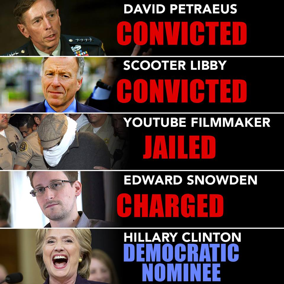 Democrats Hillary walks others jailed