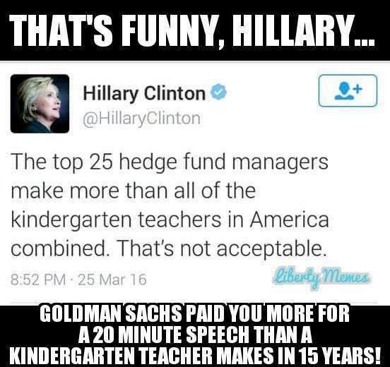 Hillary speech fees and kindergarten teacherse