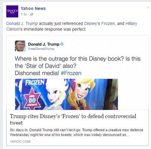 Yahoo Frozen Hillary Trump