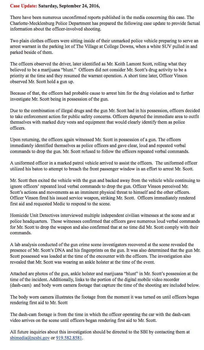 Charlotte-Mecklenburg statement re Scott
