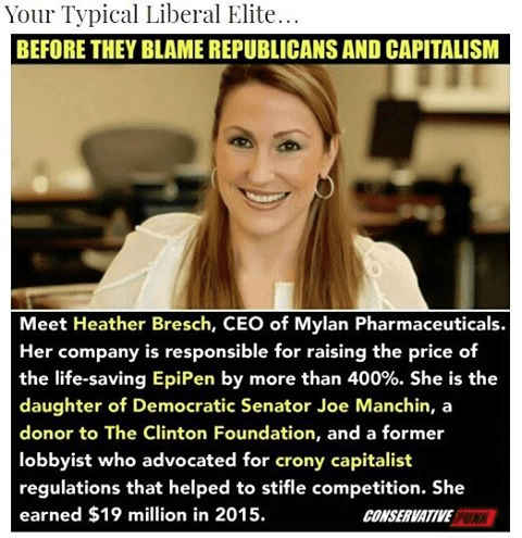 Stupid leftists are the ones driving up drug prices Heather Bresch