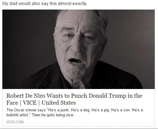 Gloating about Robert De Niro