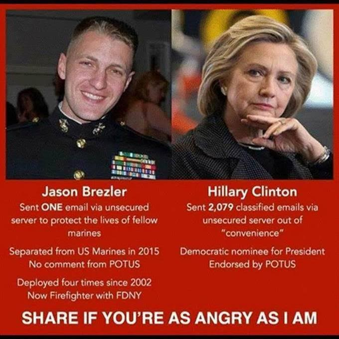 Hillary free Marine kicked out for one email
