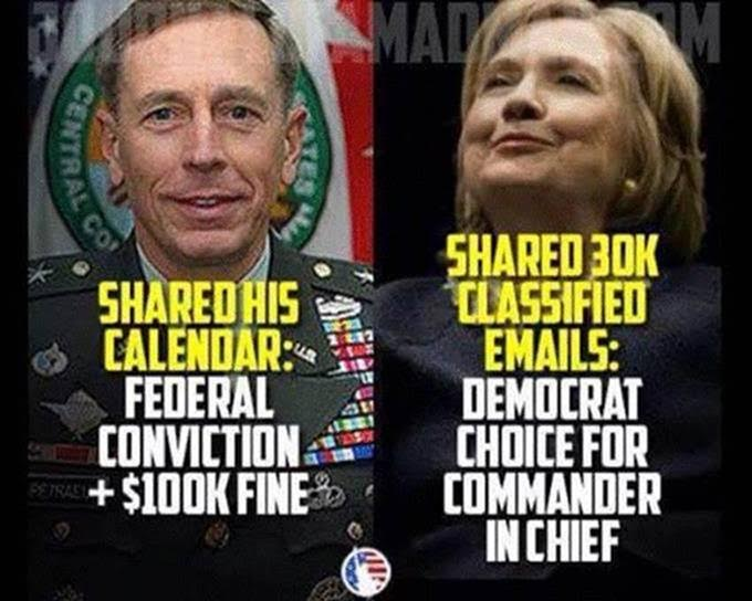 Hillary free Petraeus fired and fined