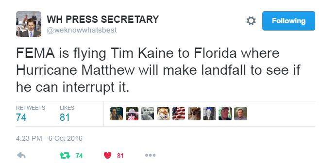 Silly Kaine interrupt Hurricane Matthew