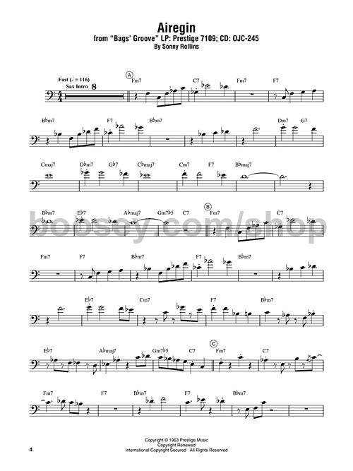 Davies, Miles - Miles Davis Omnibook for Bass Clef Instruments - bass cleff sheet music