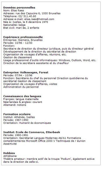 exemple d un cv fonctionnel