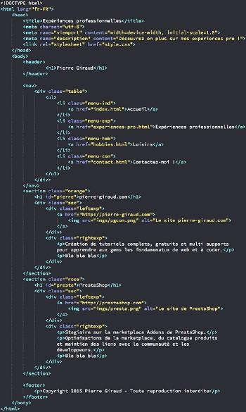 cv html css en ligne