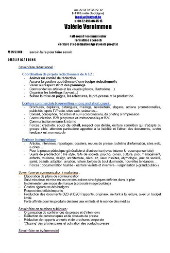 exemple de cv avec mission