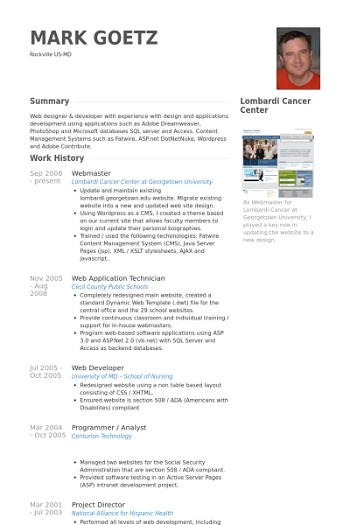 exemple cv webmaster