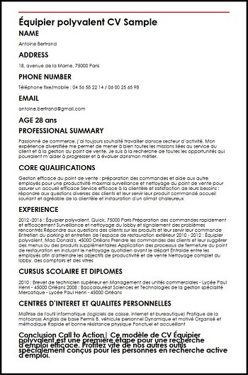 employe de restauration cv