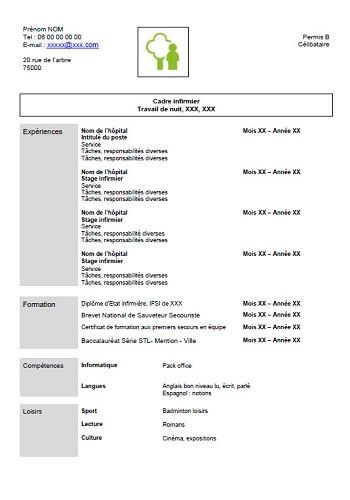 image modele cv infirmiere gratuit lettre de presentation
