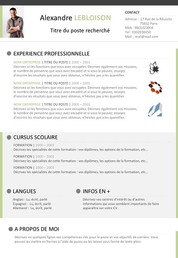 exemple de cv libre office etudiant