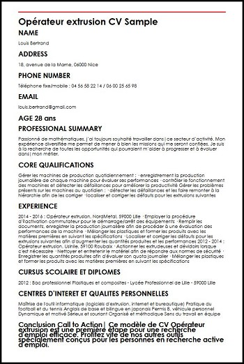 competences cv agent de fabrication