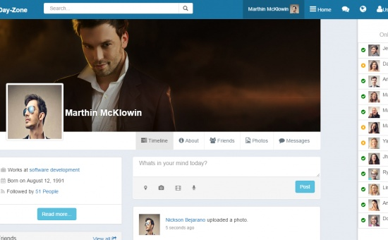 DayZone Bootstrap social network html