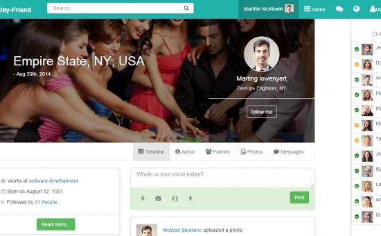 DayFriend Social Network Bootstrap template html