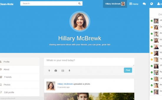 Clean Note Bootstrap Html Css Social Network Template