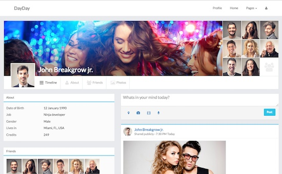 Day Day bootstrap social network template