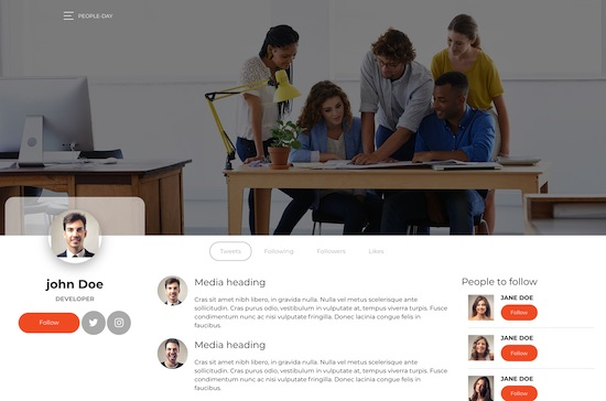 People day bootstrap 4 social network template