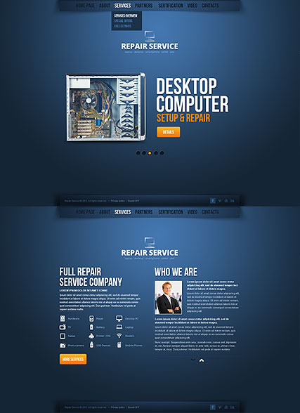 Repair Service - HTML5 template ID 300111614 from bootstrap - html5 template tag