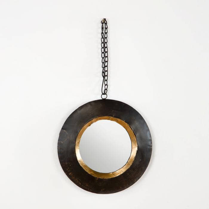 Espejo circular marrón/dorado