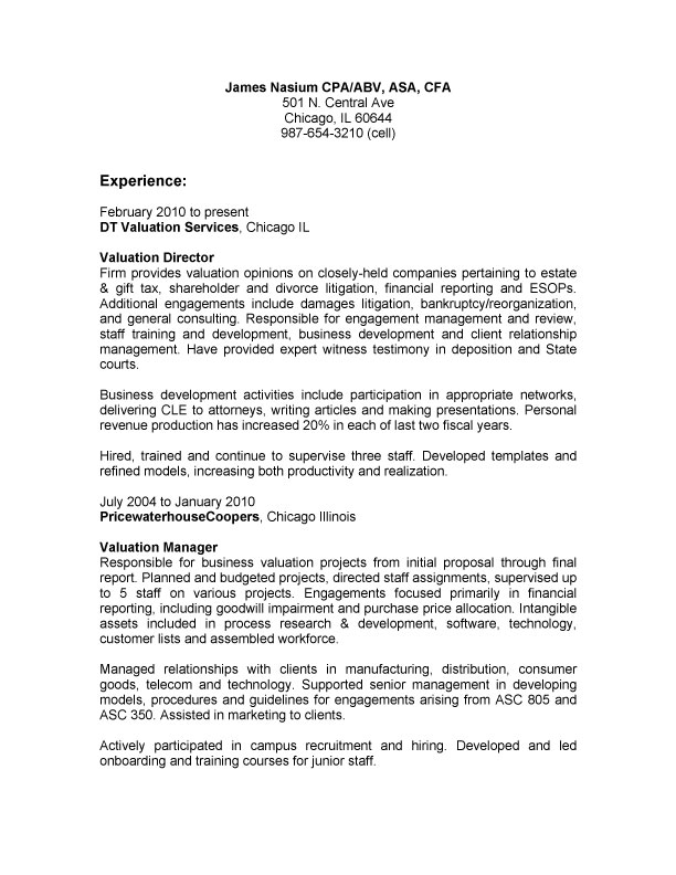 example of paragraph not bullet resume