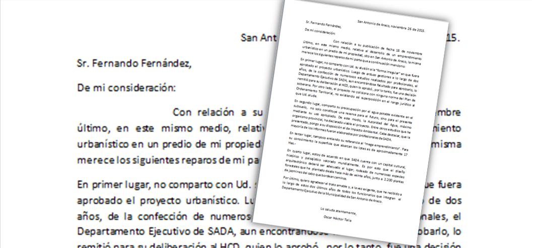Carta abierta de Oscar H. Talia a Fernando Fernández