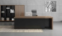 Contemporary Office Table In Walnut & Charcoal Gray Finish