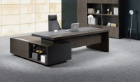 Stylish Larry Office Table In Wood & Leather: Boss's Cabin