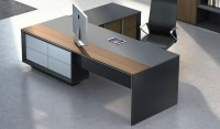 Stylish Mary Office Table In Wood & Leather: Boss's Cabin
