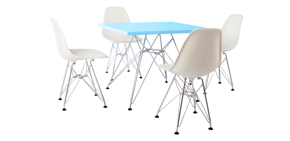 Kids Set Eames Dsr Style Blue Table 4 Chairs Boss