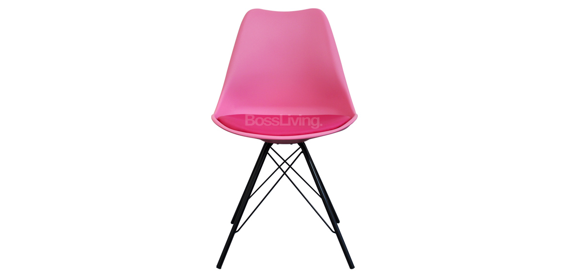 Eames Inspired Chair I Dsr Black Legs Pink Boss