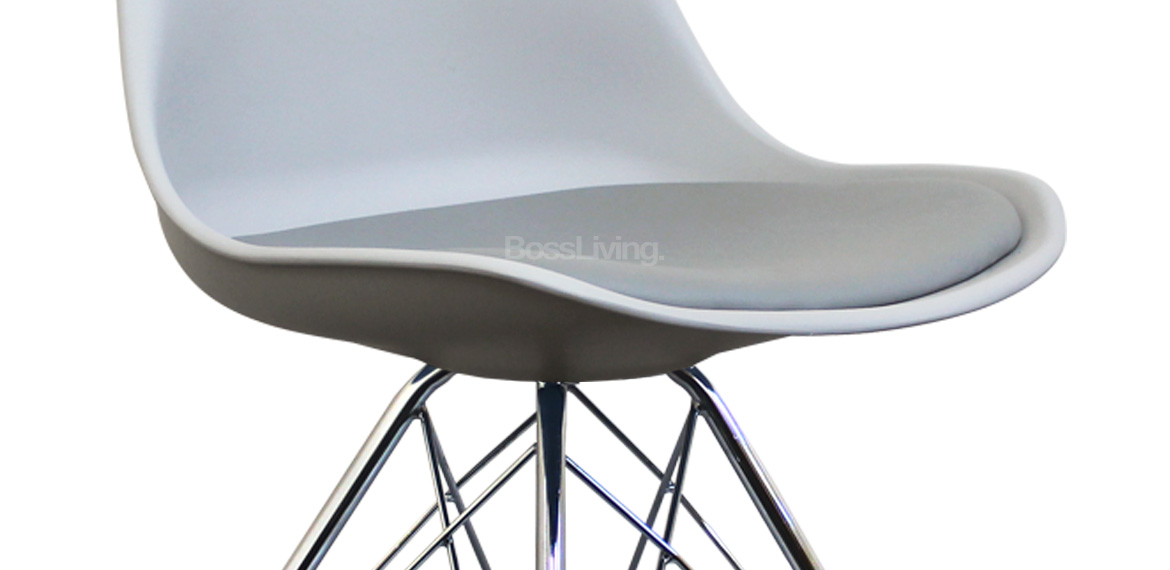 Eames Inspired Chair I Dsr Chrome Legs Light Grey Boss