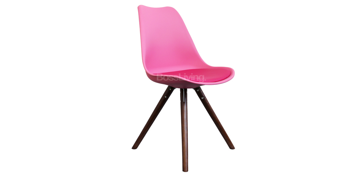 Eames Inspired Chair I Dsw Pyramid Walnut Stain Pink