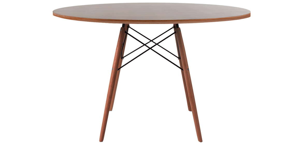 Charles Ray Eames Style Walnut Round Dining Table Walnut