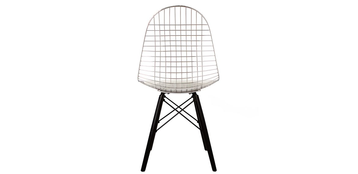 Charles Ray Eames Style Dkw Side Chair Black Legs Chrome