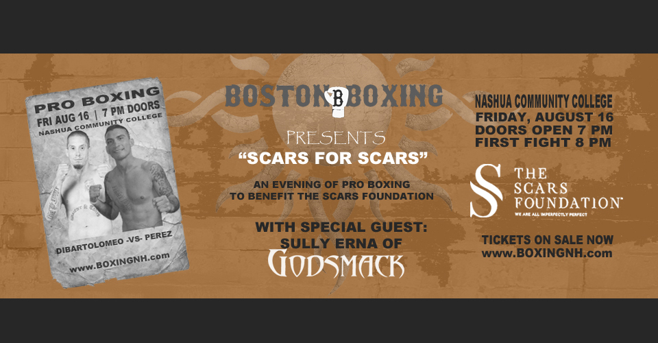 Boxing Nashua NH Godsmack Sully Erna Hampton Rim tickets event August 16 July 20 Scars Foundation