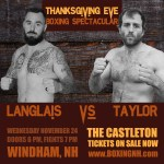 Thanksgiving Eve Boxing Spectacular November 24 Windham NH Castleton event tickets