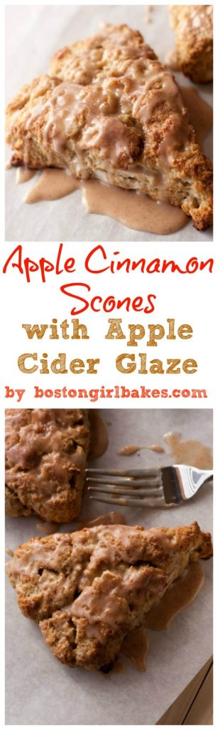 Apple Cinnamon Scones with Apple Cider Glaze - Boston Girl Bakes