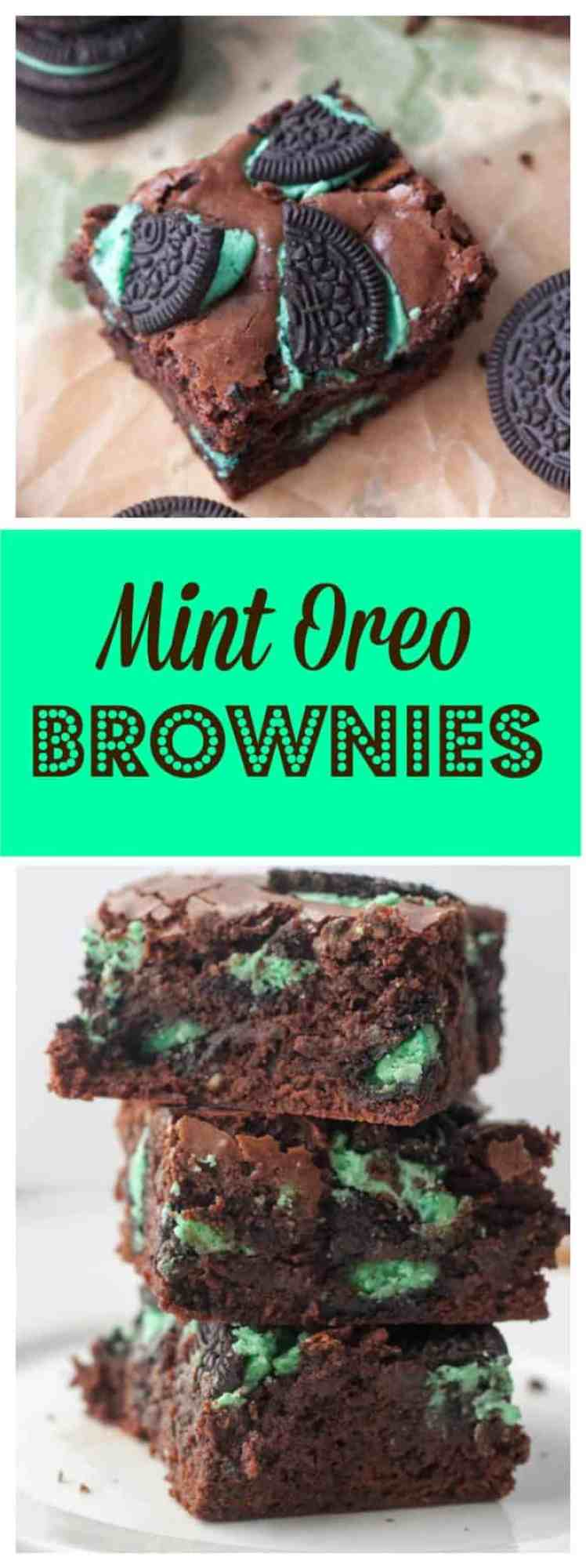 Classic fudgy brownies loaded up with Mint Oreo cookies!